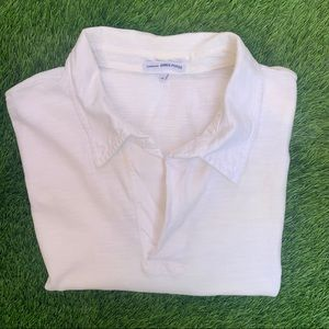 James Perse White Polo Cotton Shirt Size 4